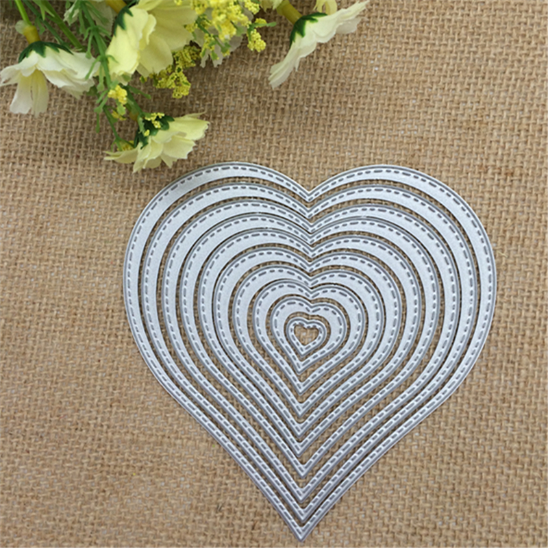 10pcs/lot. Love Heart Shapes Metal Cutting Dies Stencil Scrapbooking Photo Album Card Paper Embossing Craft DIY Cutting Dies(China)