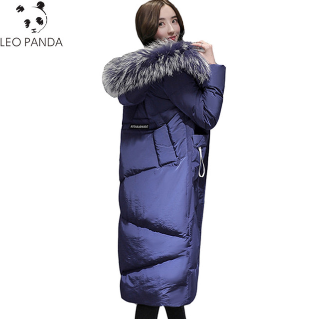 New Big Fur Collar Winter Parka High Quality Zipper Hooded Long Jacket Female Thick Warm White Duck Down Cotton Coat Women Coat