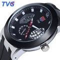 A Estrenar Con Las Etiquetas 100 M Impermeable Ultrafino Dial Correa De Caucho de Cuarzo Analógico Reloj TVG Hombres Reloj Militar Deportes Reloj de Pulsera