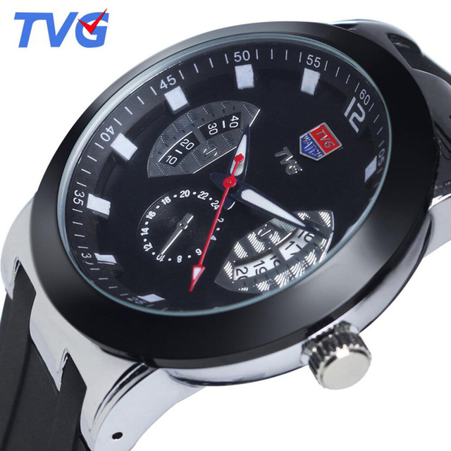 Brand New With Tags 100M Waterproof Ultrathin Dial Rubber Strap Analog Quartz Watch TVG Men Military Watch Sports Wristwatch