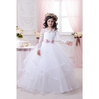Elegant Pageant Dresses for Juniors White Bow Sash Lace Flower Girl Dresses for Wedding Party Ball Gown Girls Communion Dresses