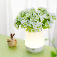 ZINUO Vase Led Night Light Touch Sensor USB Rechargeable Bedroom Beside Desk Lamp Muti Functional Energy