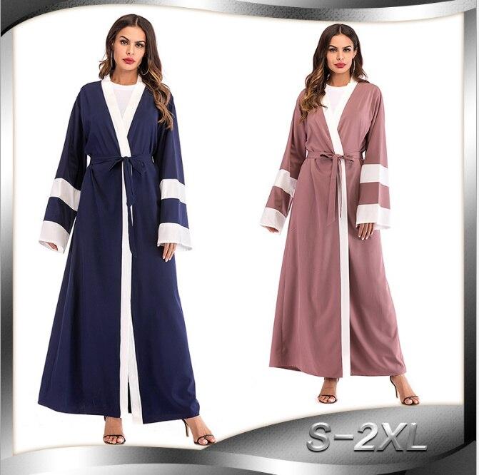 Muslim Striped Abaya UAE Maxi Dress Hijab Cardigan Tunic Long Robe Gowns  Kimono Ramadan Arab Islamic Turkish Worship Service 0434b5e79