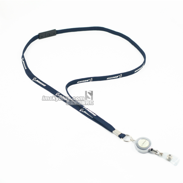 Boeing Airlines Lanyard with Retractable Reel ID Holder + Key Chain