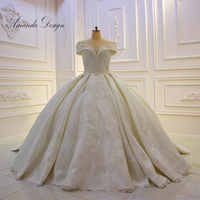 Amanda ออกแบบ hochzeitskleid ปิดไหล่ลูกไม้ Applique Empire ซาตินงานแต่งงานชุด