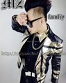 New style fashion male singer dancing costume black outerwear PU leather blazer clothing jazz ds dj performance men's jacket