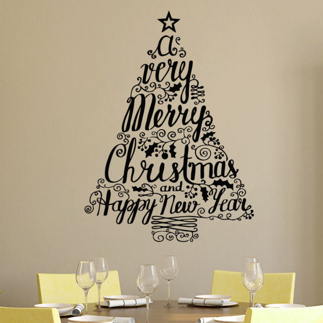 76X56cm Feliz Natal Adesivo De Parede Merry Christmas Tree Wall Stickers  Ball Decal Mural Home Window