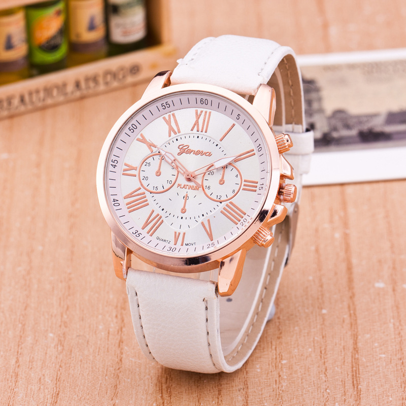 Casual Leather Quartz font b Watches b font Women Men Analog Geneva Wristwatches Ladies Students Children