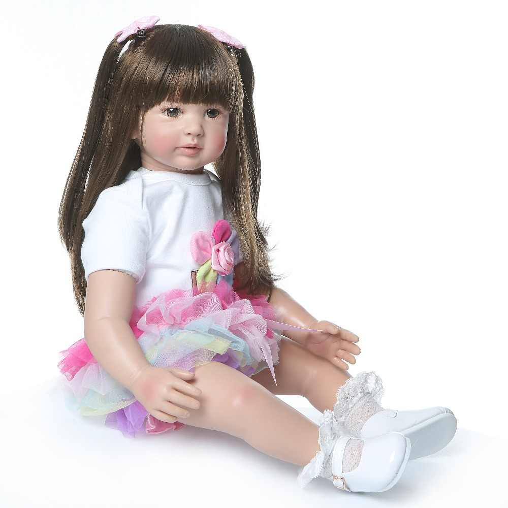 באיכות גבוהה 60 cm גדול גודל reborn פעוטות נסיכת סיליקון ויניל מקסים כמו בחיים תינוק Bonecas ילדה bebe בובת reborn menina