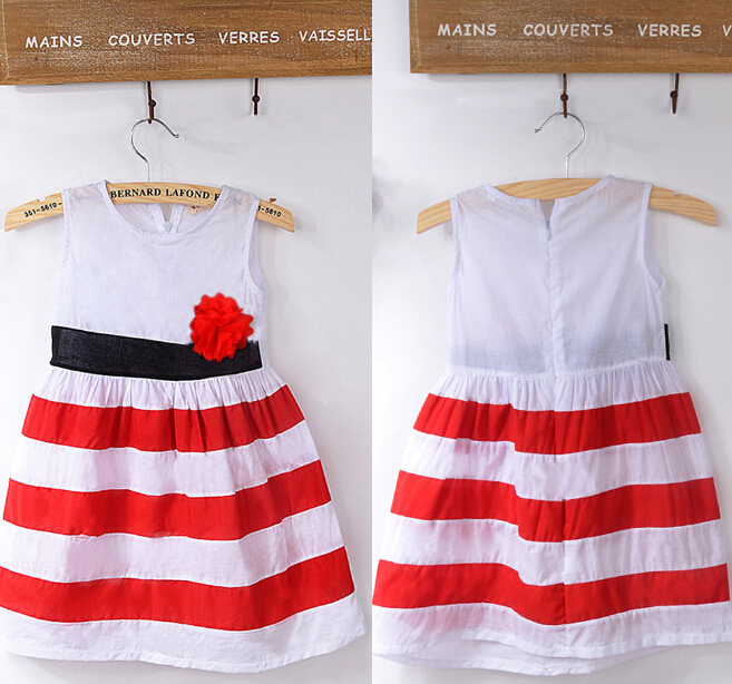 Sleeveless Striped Brand Outfits Birthday Party Dress Children Baby Kids Girls Dresses Clothing Flower Princess Brief Hot Summer