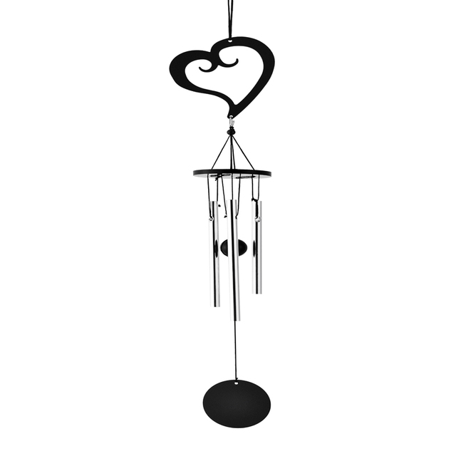 Wedding Decoration Cheapest 3 Tube Metal Heart Wind Chime Chapel Bells Wind  Chimes Door Hanging Garden