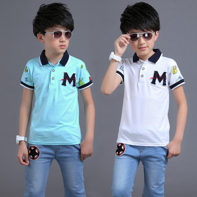 956a3a66 For 5-14 Years Age Boys Summer Clothes Sport Suit Set Short Sleeve  Turn-down Collar Children's Clothing Set T-Shirt + Jeans