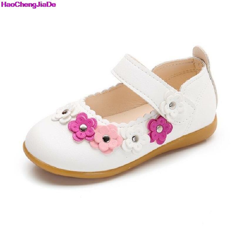 HaoChengJiaDe Children Single Shoes Spring Princess Children Leather Fashion Girls Kids Party Flat Shoes For Girl Infantis Ninas