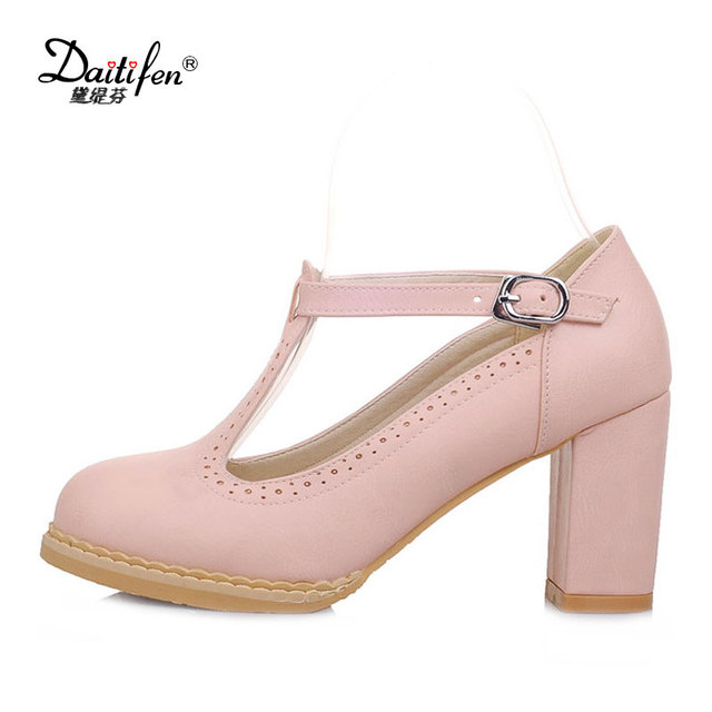 bb3cf4d6b34 Daitifen Women Shoes High Heels T-Strap Candy Pink Ladies Heeled Shoes  Retro Block Heels Brogue Pumps Woman Shoes zapatos mujer
