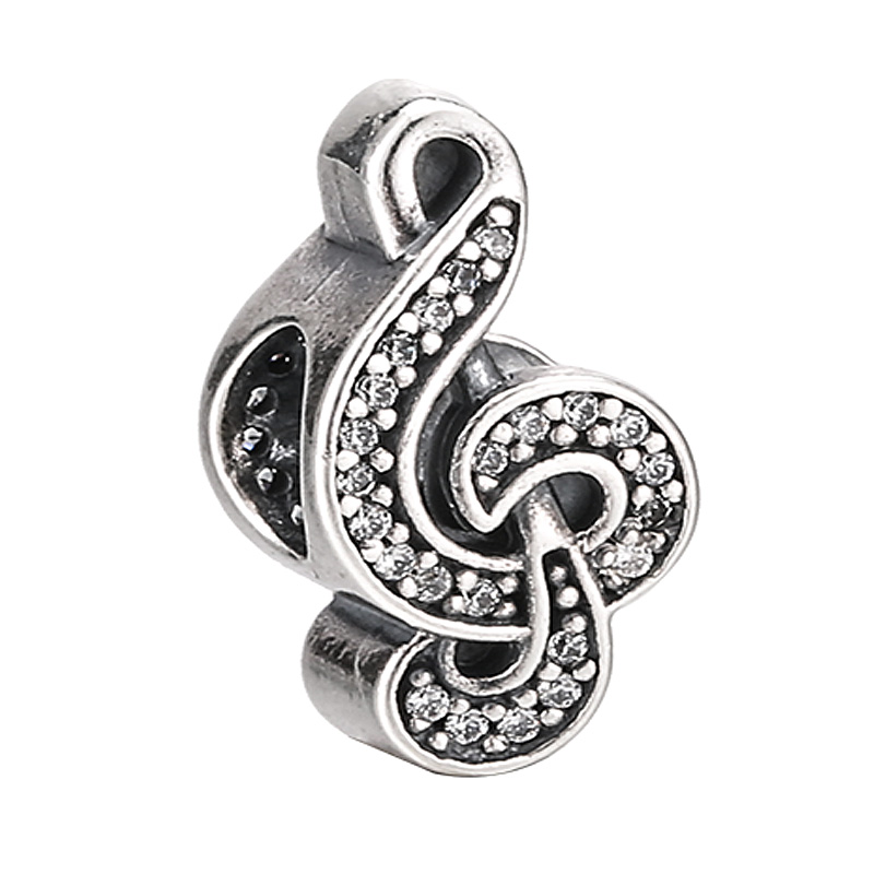 Authentic 925 Sterling Silver Bead Charm Cute Sweet Music Note With Crystal Bead Fit Pandora Bracelet Bangle Diy JewelryAuthentic 925 Sterling Silver Bead Charm Cute Sweet Music Note With Crystal Bead Fit Pandora Bracelet Bangle Diy Jewelry