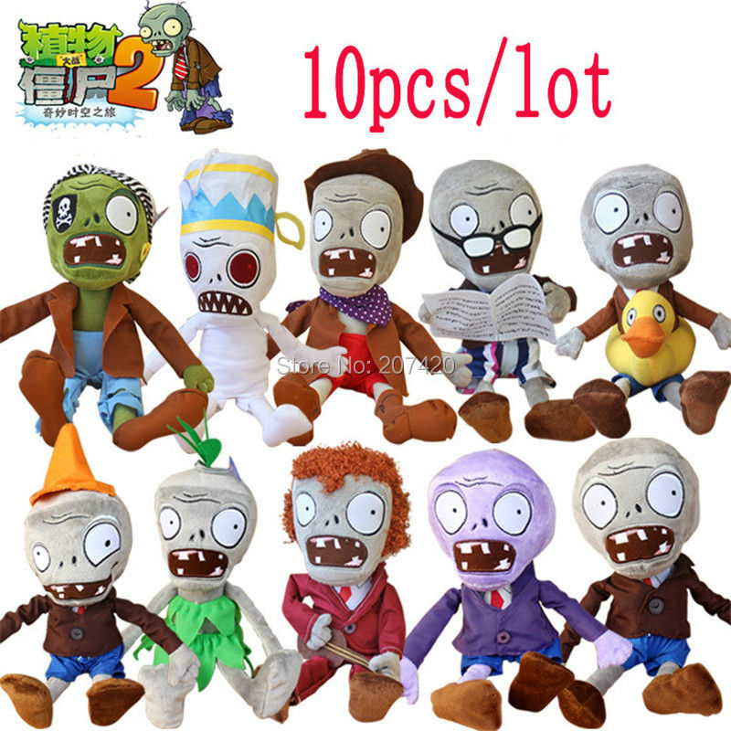 10pcs/lot 30cm Plants vs Zombies Plush Toys Games PVZ Zombies Soft Plush Stuffed Toys Dolls Baby Toy For Kids Gift new arrival plants vs zombies plush toys 30cm pvz zombies soft stuffed toy doll game figure statue for children gifts party toys