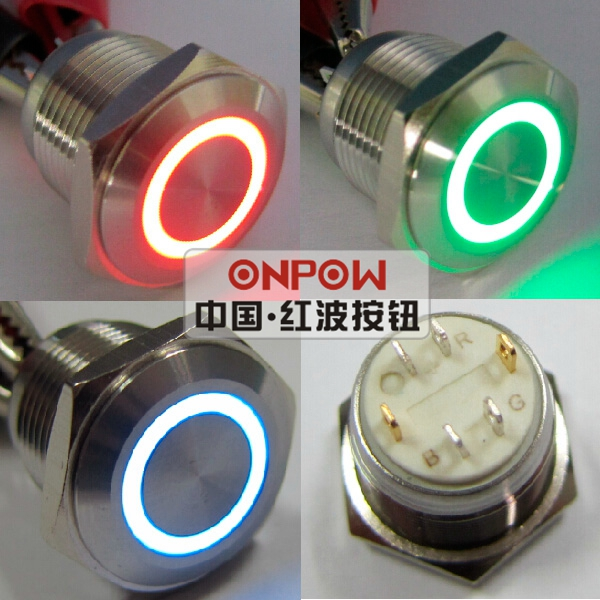 Onpow 16mm Tri Color Rgb Momentary Ring Led Illuminated