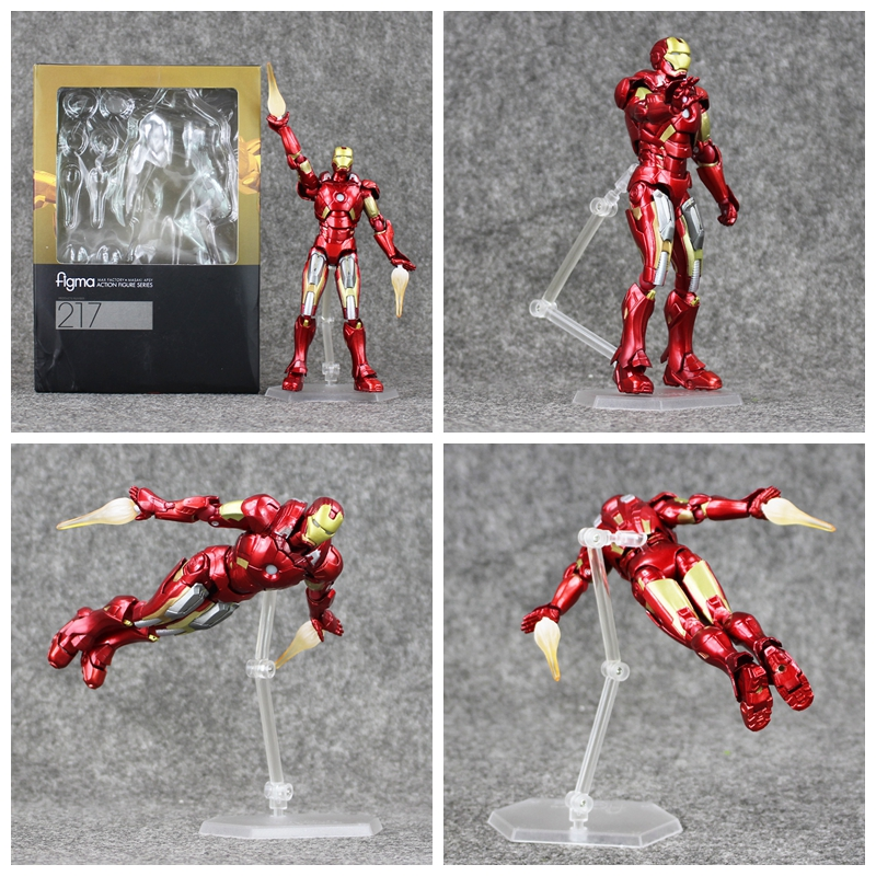 6.5''16.5cm The Superhero Iron Man Figma 217 PVC Action Figure Collectible Model Toys Doll for Kids Gift action figure toys the flash man green lantern action figures collectible pvc model toy gift for kids 20cm