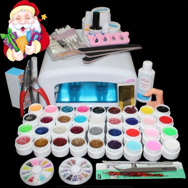 BTT-111 hot vender 36 cores uv unhas de gel lâmpada conjunto de ferramentas, ferramentas de unhas set kit, kit conjunto de unhas de gel, kit de unhas de gel 36 w uv lâmpada gel uv