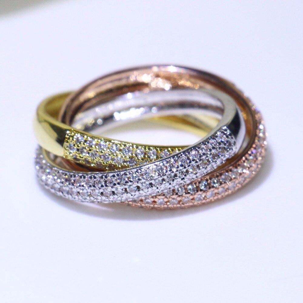 Triplo Círculos de Ouro/Rosa de Ouro/Prata Anel de Três Cores de Jóias de Luxo 925 Prata Pave CZ Anel de Casamento Das Mulheres dedo Anéis Presente