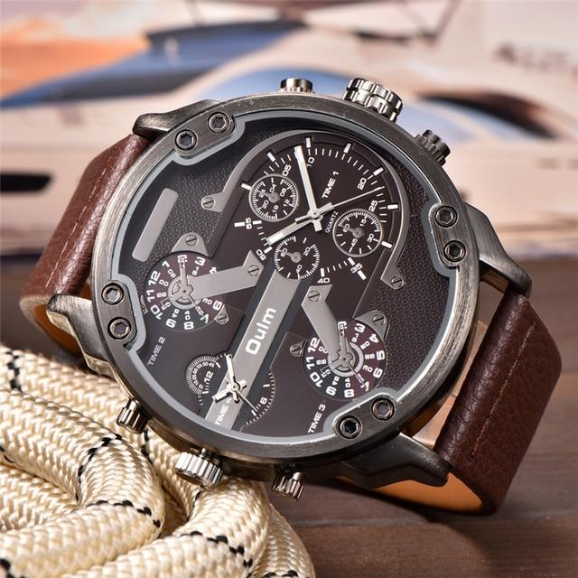 80871e43868 Oulm Projeto Origem Marca Grandes Homens Relógios Masculino relógio de Quartzo  relógio de Pulso Grande Dial