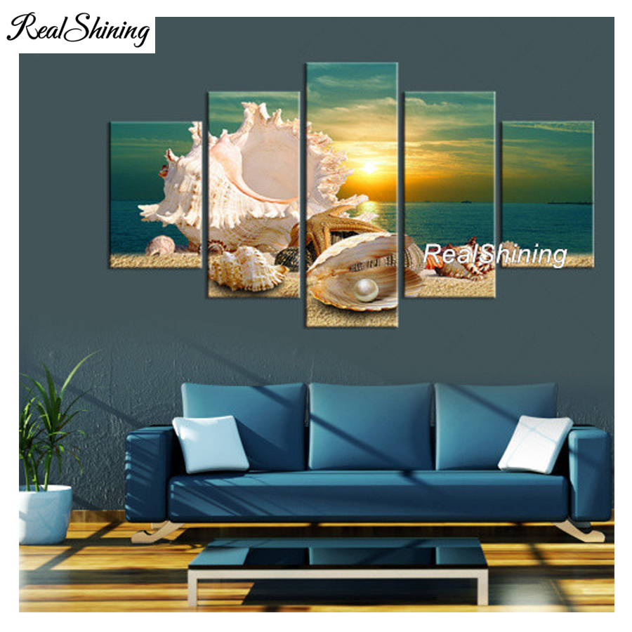 REALSHINING diy needlework full diamond embroidery blue beach shell 3d diamond painting cross stitch square multi-picture DM585REALSHINING diy needlework full diamond embroidery blue beach shell 3d diamond painting cross stitch square multi-picture DM585