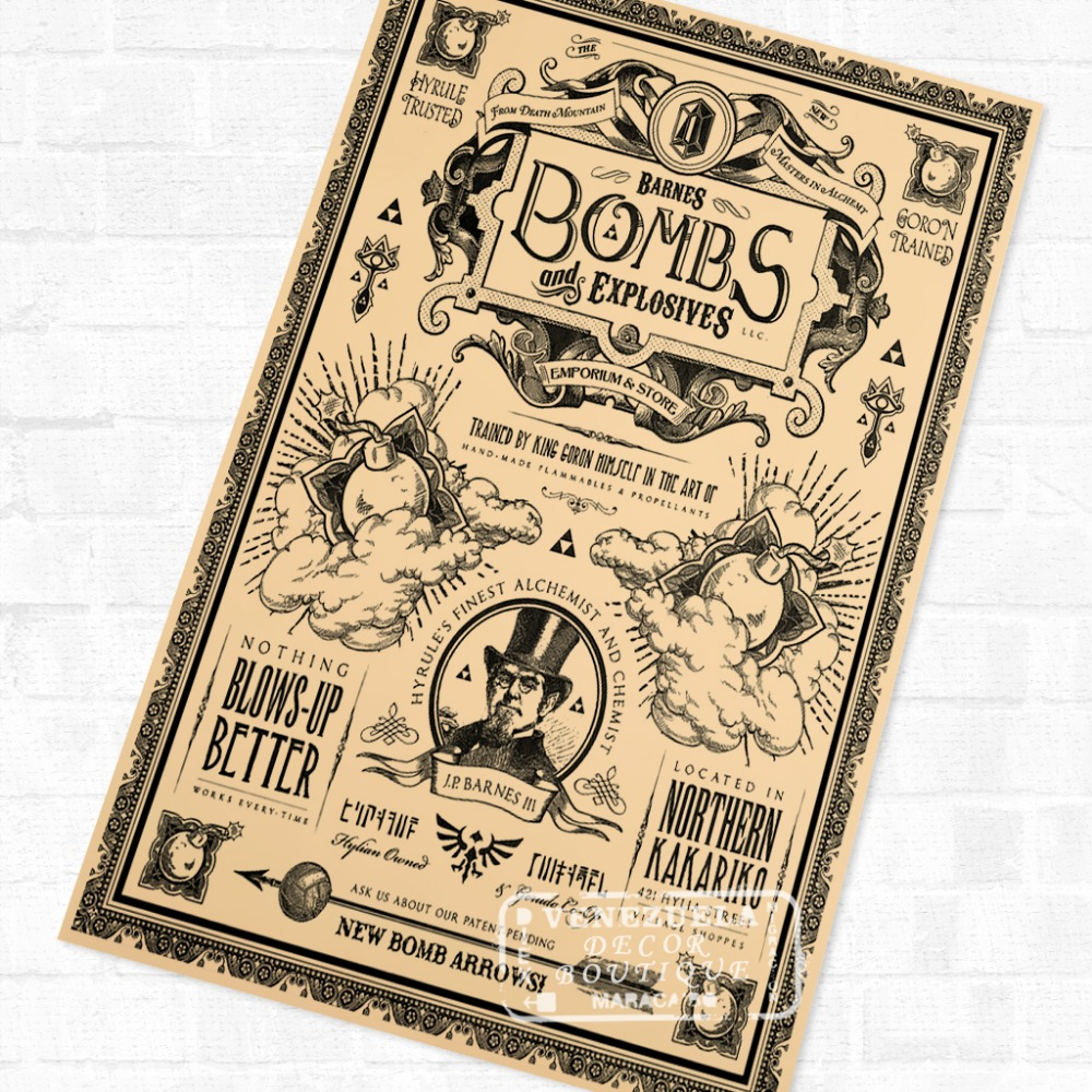 Bombs and Explosives the Legend of Zelda Video Game Poster Retro ...