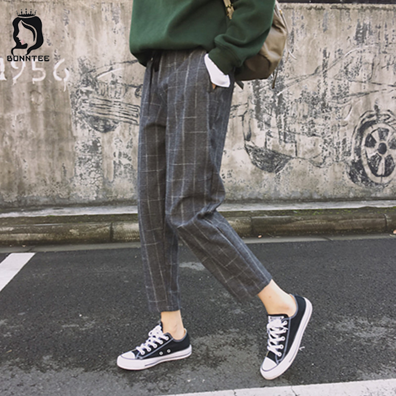 Women Pants Pockets Plaid Loose Retro Chic Girls High-Waist Korean-Style Casual New-Fashion title=