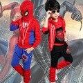 Новый Человек-Паук Дети Одежда Устанавливает Мальчики Человек-Паук Косплей Спортивный Костюм Дети Устанавливает куртка + брюки 2 шт.. мальчики Одежда