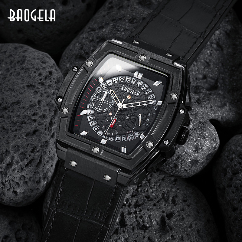 Image 3 - BAOGELA Brand Fashion Mens Sports Waterproof Calendar Wrist Watch Square Multifunction Silicone Band Mens Watch-in Quartz Watches from Watches
