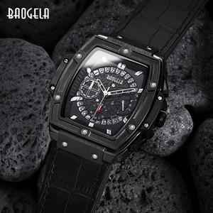 Image 3 - BAOGELA Marke Mode Herren Sport Wasserdicht Kalender Armbanduhr Square Multifunktions Silikon Band Herren Uhr