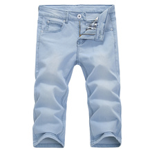 2017 summer men's casual denim shorts, comfortable cotton slim jeans men's ,Summer young men 's light – colored jeans shorts