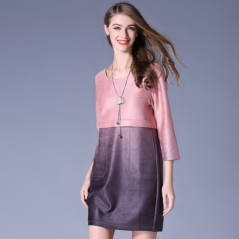 Pink Purple Two Tone Pieced Three Quarter Sleeve Imitation Suede Dress Plus  Size Women Clothing 3xl-in Dresses from Women s Clothing on Aliexpress.com  ... a0d77757afd8