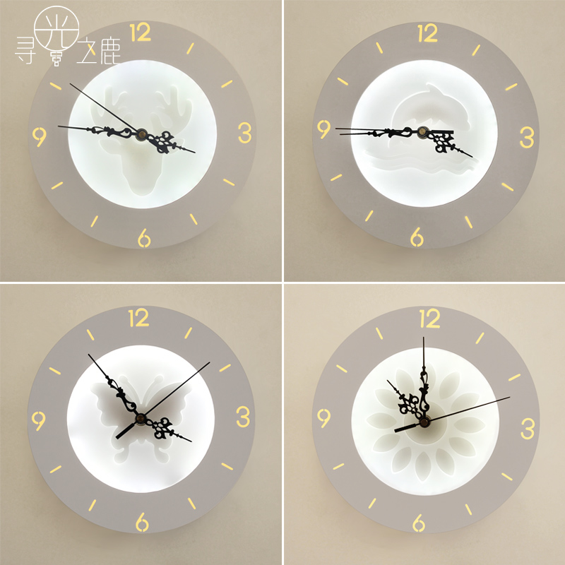 and contemporary adornment wall lamp wall clock Nordic sitting room bedroom study LED clock Can decorate lighting цена