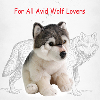 Cute Cuddly Wolf Plush Toy Lifelike Soft Stuffed Animal Adorable Plushy kawaii Kids Doll Fluffy Birthday Gifts for Children Boy