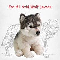 Cute Cuddly Wolf Plush Toy Lifelike Soft Stuffed Animal Adorable Plushy kawaii Kids Doll Fluffy Birthday Gifts for Children Boy