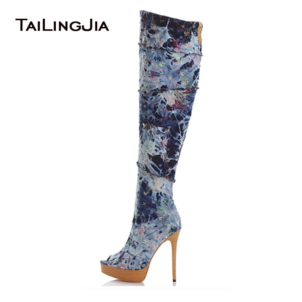 Women Peep Toe Platform Over the Knee High Denim Boots Sexy Stiletto Heel Thigh High Boots Jeans Long Boots with Zipper Big Size jialuowei women sexy fashion shoes lace up knee high thin high heel platform thigh high boots pointed stiletto zip leather boots