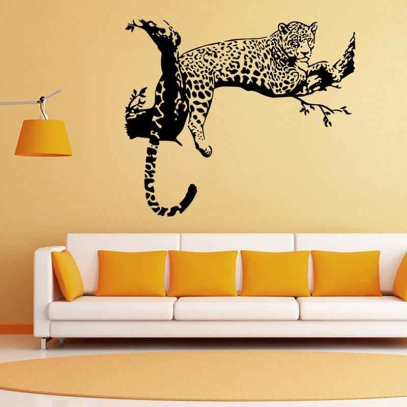 Large Leopard Vinyl Wall Sticker Home Decoration Animal Wall Decor ...
