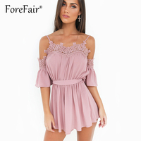 Forefair Sexy Off Shoulder Halter Jumpsuit Romper Women Lace Up Waist Overalls Summer Casual Loose Lace