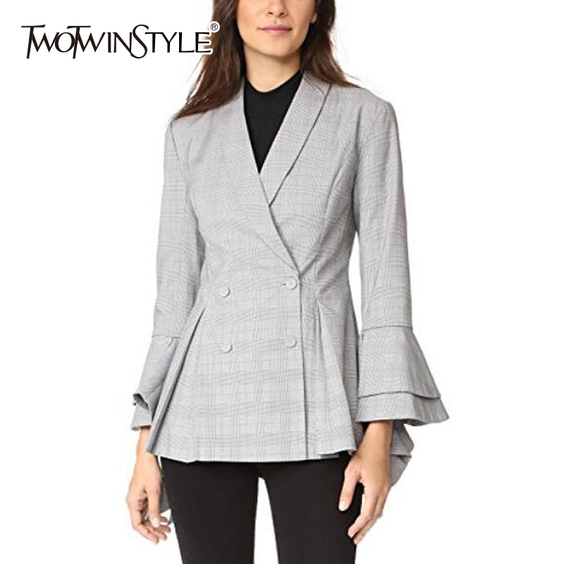 TWOTWINSTYLE OL Coat Female Plaid Flare Sleeve Ruffles Double Breasted Tunic High Waist Women's Blazer 2020 Spring Fashion Tops