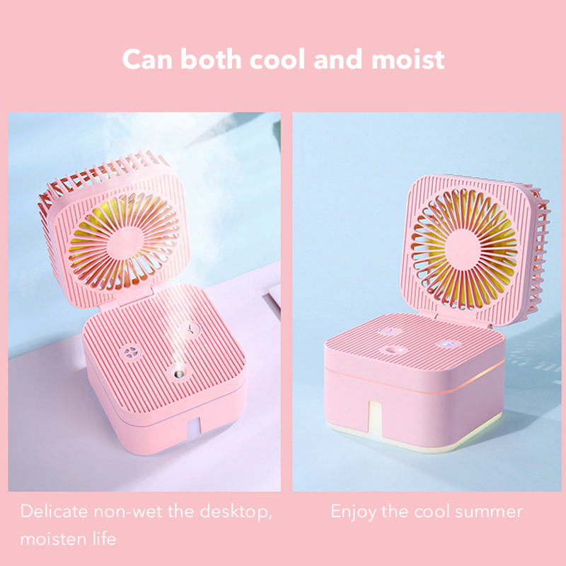 Two In One Mini Fans Air Humidifier Nebulizing Diffuser Lamp Diffuser Portable Air Humidifier Mist Maker Fogger Four Color