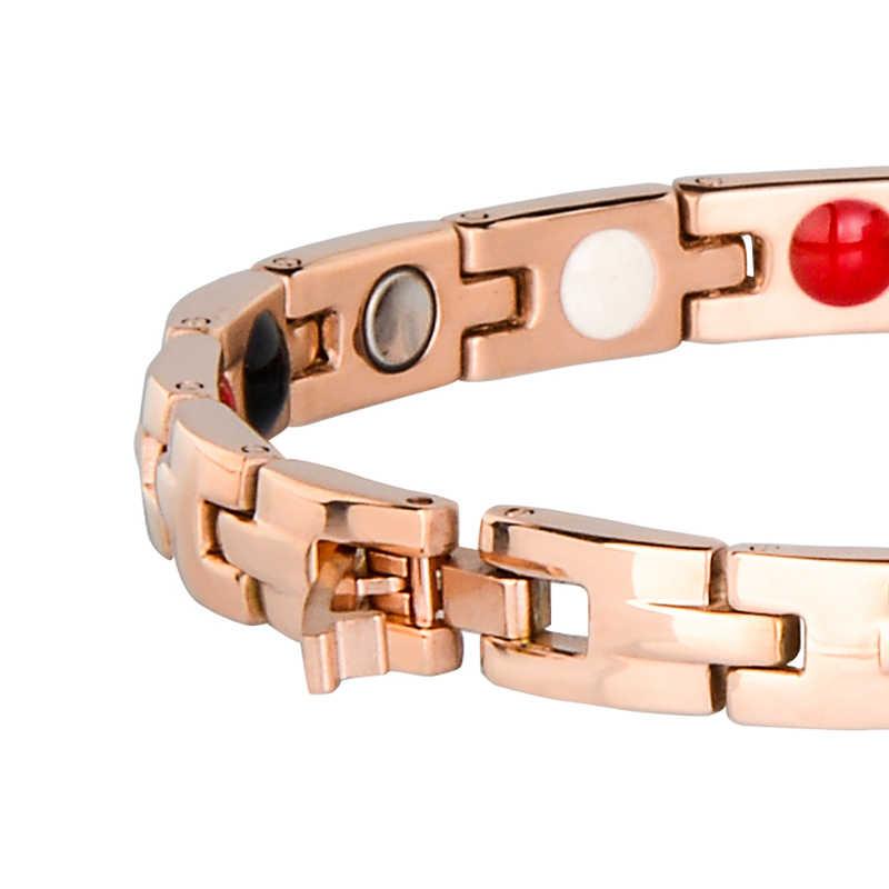 リトルカエルジルコン宝石女性ブレスレットステンレス鋼健康エネルギー磁気ローズゴールドファッションジュエリー女性ブレスレット 10249