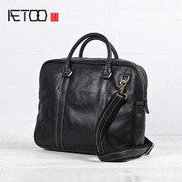 AETOO 2018 новый оригинальный портфель ручной работы из натуральной кожи мужская повседневная черная кожаная мягкая сумка для ноутбука