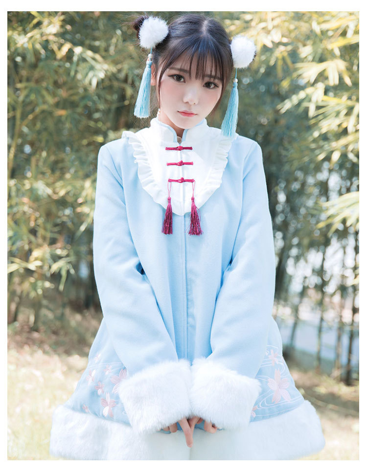 Super Soffice Di Spessore Lungo Cute Cappotto Arco red Si Rosso Festival Cinese Ricamo blue Del Stile Sakura Outwear Inverno Pink Parka Sentono Pelliccia w84g8x