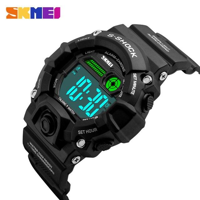 aa19637a601 SKMEI Russa Talking Tempo Digital Relógios De Pulso Homens Relógios  Despertador Eletrônico LEVOU Esportes Relógio Militar