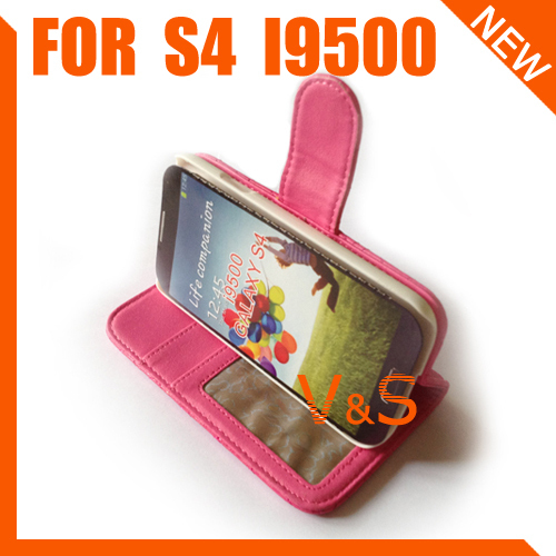 TOP Quality Wholesale PU Leather stand card Case Cover for Samsung Galaxy S4 i9500 20pcs/lot Free Shipping