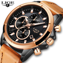 LIGE Watch Men Fashion Sport Quartz Clock Leather Mens Watches Top Brand Luxury Gold Waterproof Business Watch Relogio Masculino dom watch men fashion sport quartz clock mens watches brand luxury fashion leather business waterproof watch relogio masculino