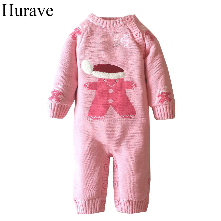 Hurave Winter Baby Romper Newborn sweater Cute animal print Add plush warmth long sleeve infant boys and girls clothes girls eyes print romper