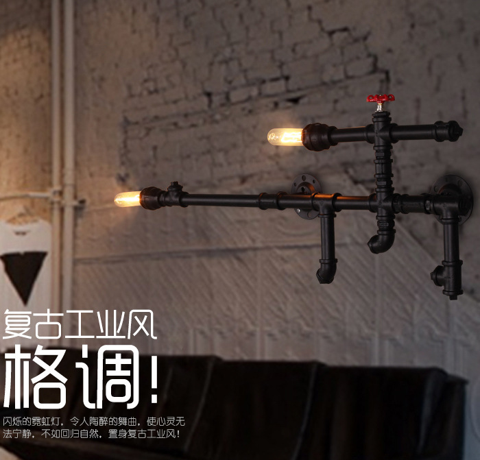 Water Pipe Wall Lamp Vintage Aisle Lamp Loft Iron pipe Wall Lamp black finished E27 Edison Light Fixtures 110-240V