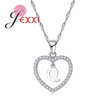 JEXXI New Arrival A To Z Letters Real 925 Sterling Silver Heart Pendant Necklaces For Women Girl Lovely Fashion Wedding Jewelry(China)
